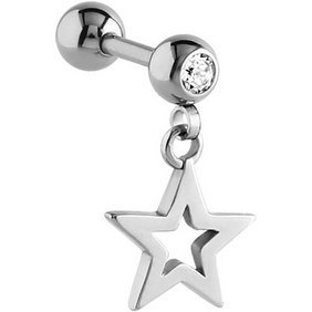 Dangly Outline Star Ear Stud