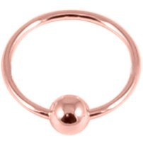PVD Rose Gold on Sterling Silver Sleeper Ring with Ball
