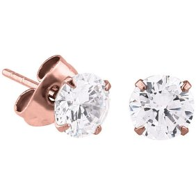 PVD Rose Gold Claw-Set Jewel Ear Studs