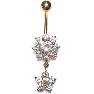 9ct Gold Double Daisy Dropper Belly Bar