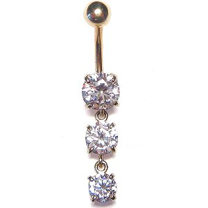 9ct Gold Triple Solitaires Belly Bar