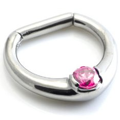 Single Jewel Steel Septum Clicker Ring