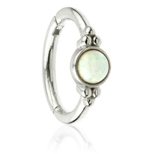 14ct White Gold Hinged Fancy Opal Ring