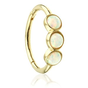 9ct Yellow Gold Hinged Triple Opal Ring