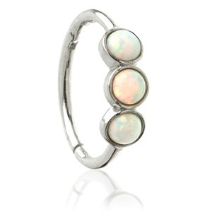 9ct White Gold Hinged Triple Opal Ring
