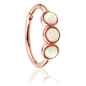 14ct Rose Gold Hinged Triple Opal Ring
