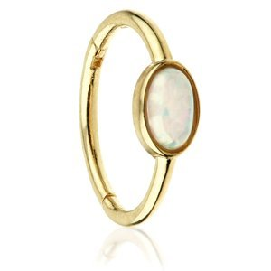 14ct Yellow Gold Hinged Oval Opal Ring