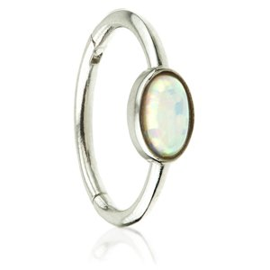14ct White Gold Hinged Oval Opal Ring