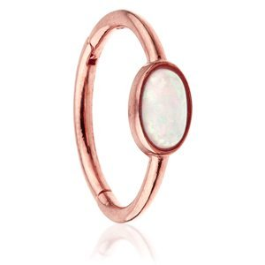 14ct Rose Gold Hinged Oval Opal Ring