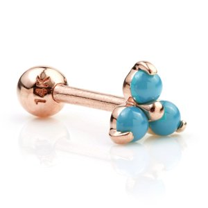 14ct Rose Gold Turquoise Trinity Ear Stud