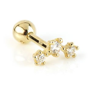 14ct Gold Triple Gem Crescent Ear Stud