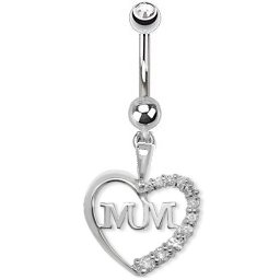 Sterling Silver /& Cubic Zirconia GB Great Britain Heart Piercing Belly Bar