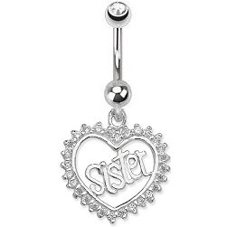 Sterling Silver Sister Belly Bar