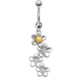 Sterling Silver Flowers Belly Bar