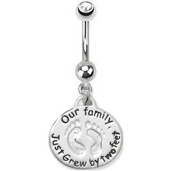 Sterling Silver 'Our Family Just Grew' Belly Bar