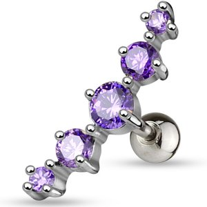 Jewelled Ear Stud - 5 Gem
