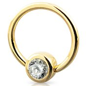 14ct Gold Jewelled Ball Closure Ring
